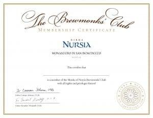 Birra Nursia membership certificate